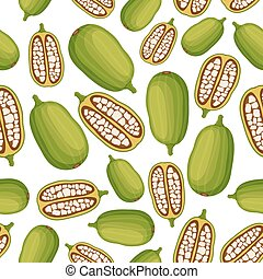 Baobab seamless pattern. Cartoon flat style. Vector illustration