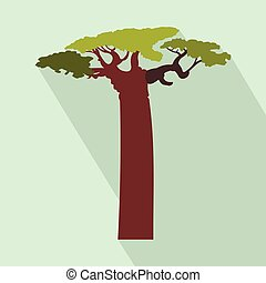 Baobab tree icon, flat style