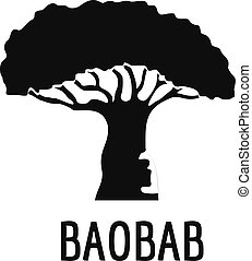 Baobab tree icon, simple black style - Baobab tree icon....