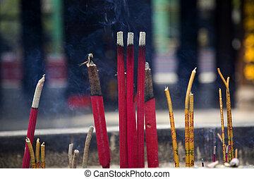 baoguang, boeddhist, tem, schat, wierook, si, smoking, het...