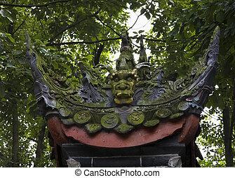 baoguang, buddista, giardino, tesoro, drago, sichuan, silicio, verde, statua, porcellana, lucente, tempio, chengdu
