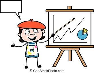 baord, artista, caricatura, presentación