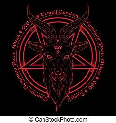 Baphomet demon goat head hand drawn print or blackwork flash...