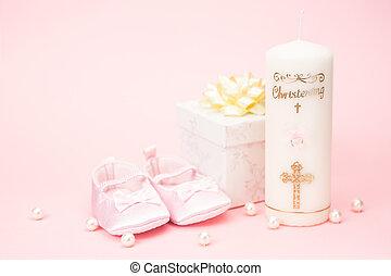 baptême, boîte, cadeau, butins, bébé, bougie, rose