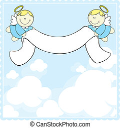 baptism greeting card - cute baby angels with ribbon banner