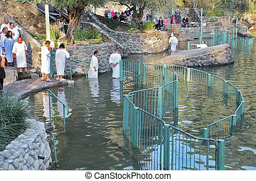 Baptism in the Jordan River - Yardenit, Israel - January 21:...