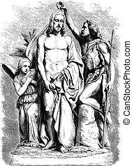 Baptism of Jesus Christ, vintage engraving
