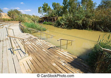 Baptismal site Qasr el Yahud on the Jordan river near ...