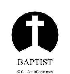 Baptist cross logo, vector art illustration.