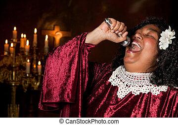 Baptist singer - Negro spiritual gospel singer singing a...
