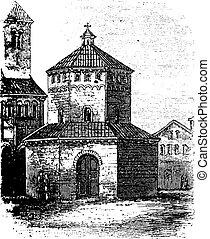 Baptistry of Novara vintage engraving - Baptistry of Novara,...