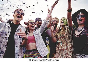 baráti társaság, having móka, -ban, a, fesztivál