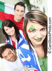 baráti társaság, támogató, a, olasz, foci sportcsapat