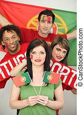 baráti társaság, támogató, a, portugál, foci sportcsapat