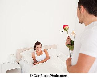 barátnő, rózsa, pasas, övé, jelentékeny