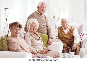 barátok, öregedő, együtt