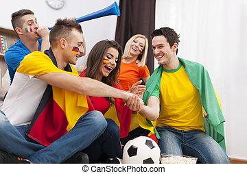 barátok, alapján, különböző, ország, támogató, foci sportcsapat