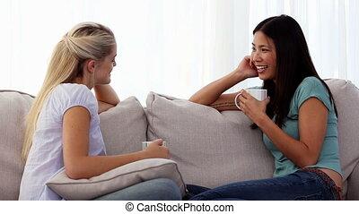 barátok, bájos, beszélgető
