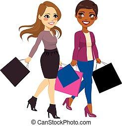 barátok, bevásárlás, legjobb, nők