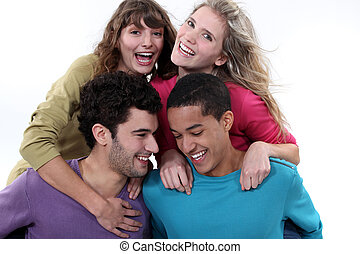 barátok, csoport, nevető, együtt