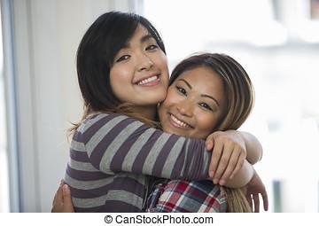 barátok, home., női, két, ázsiai