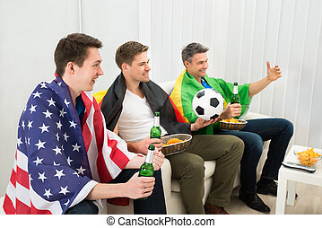 barátok, közül, különböző, nemzet, támogató, foci sportcsapat