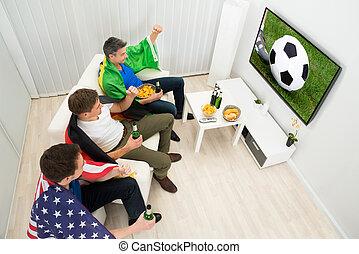 barátok, közül, különböző, nemzetek, őrzés, foci meccs