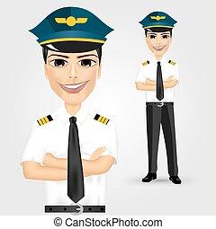 barátságos, pilóta, kereszteződnek fegyver