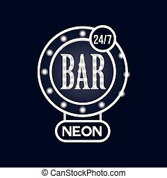Bar 24 7 neon sign, vintage bright glowing signboard, light banner vector Illustration