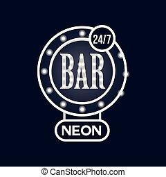 Bar 24 7 neon sign, vintage bright glowing signboard, light banner vector Illustration