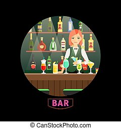 Bar and girl bartender vector round banner