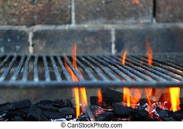 Bar b cue barbecue fire BBQ coal fire iron grill
