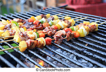 Bar-B-Q or BBQ with kebab cooking. coal grill of chicken...