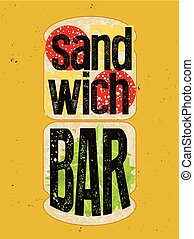 bar, broodje, poster., typografisch