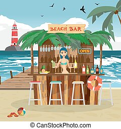 Bar bungalows with bartender woman on the beach ocean coast. Vector flat cartoon illustration. Summer vacation in a tropical beach. Relaxing at the beach bar, drinks, fruits