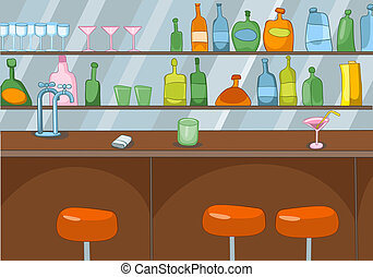 Bar Cartoon - Bar in Club. Cartoon Background. Vector...