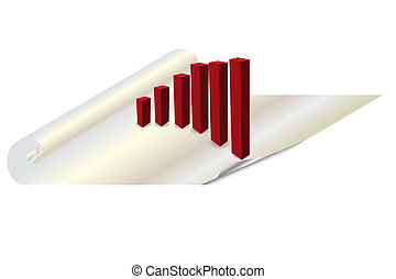 Bar chart 3d on a piece of paper