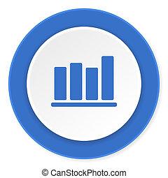 bar chart blue circle 3d modern design flat icon on white background