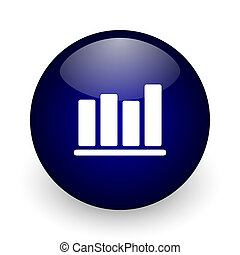 Bar chart blue glossy ball web icon on white background. Round 3d render button.