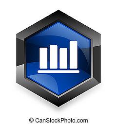 bar chart blue hexagon 3d modern design icon on white background