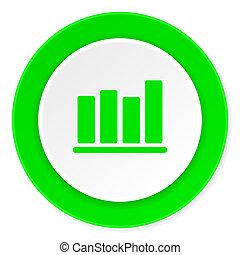 bar chart green fresh circle 3d modern flat design icon on white background