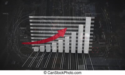 Bar chart growing with red arrow