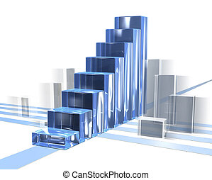 bar chart in motion for business with transparent over white...
