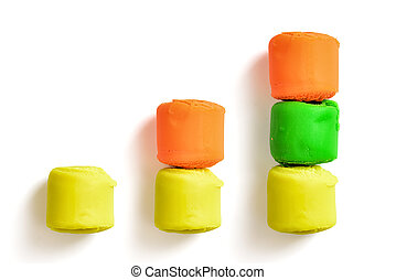 Bar chart made of colourful pieces modelling clay isolated...