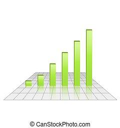 Bar chart of rising profits on grid glossy surface