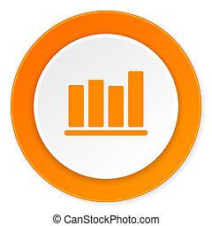 bar chart orange circle 3d modern design flat icon on white background