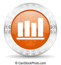 bar chart orange icon, christmas button