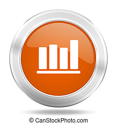 bar chart orange icon, metallic design internet button, web and mobile app illustration