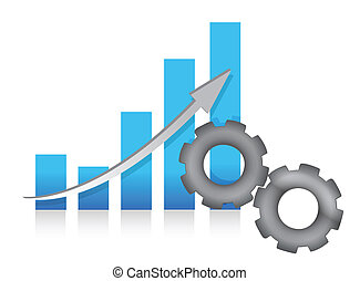 Bar chart production illustration design over white