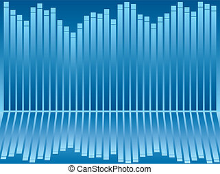 Abstract business background showing a reflected bar chart in different shades of blue